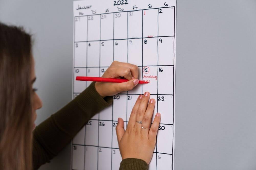 Nicht vergessen! TMS Datum im Kalender eintragen.