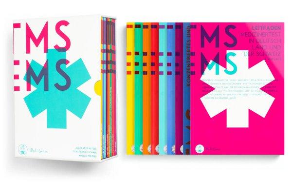 Kompendium-Box mit Inhalt. Bücher zur Vorbereitung auf den TMS und EMS 2019