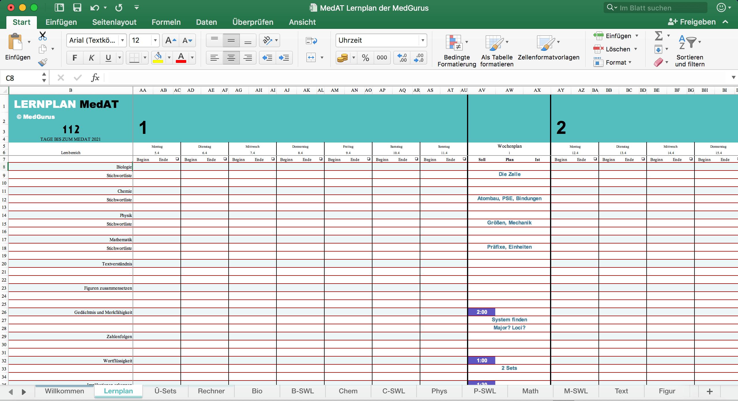 MedAT Lernplan - Wochenübersicht MedGurus