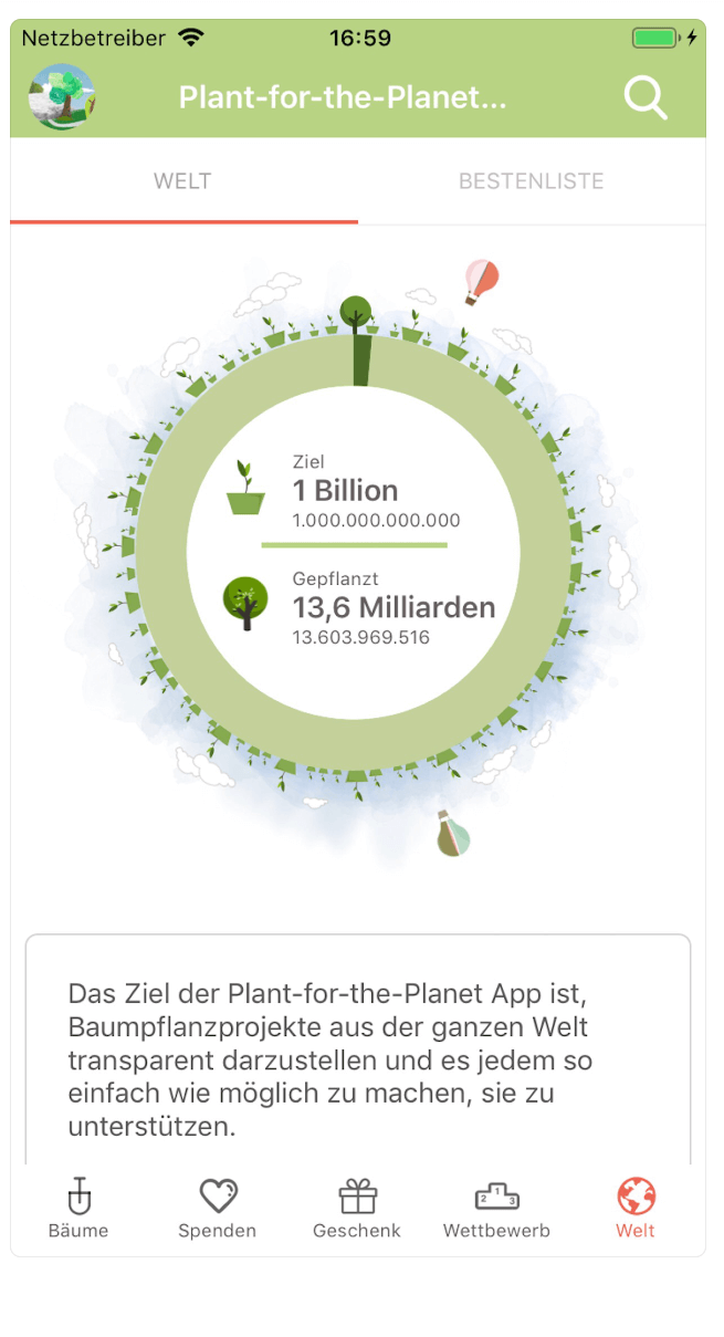 Plant-for-the-Planet Ziel in der App