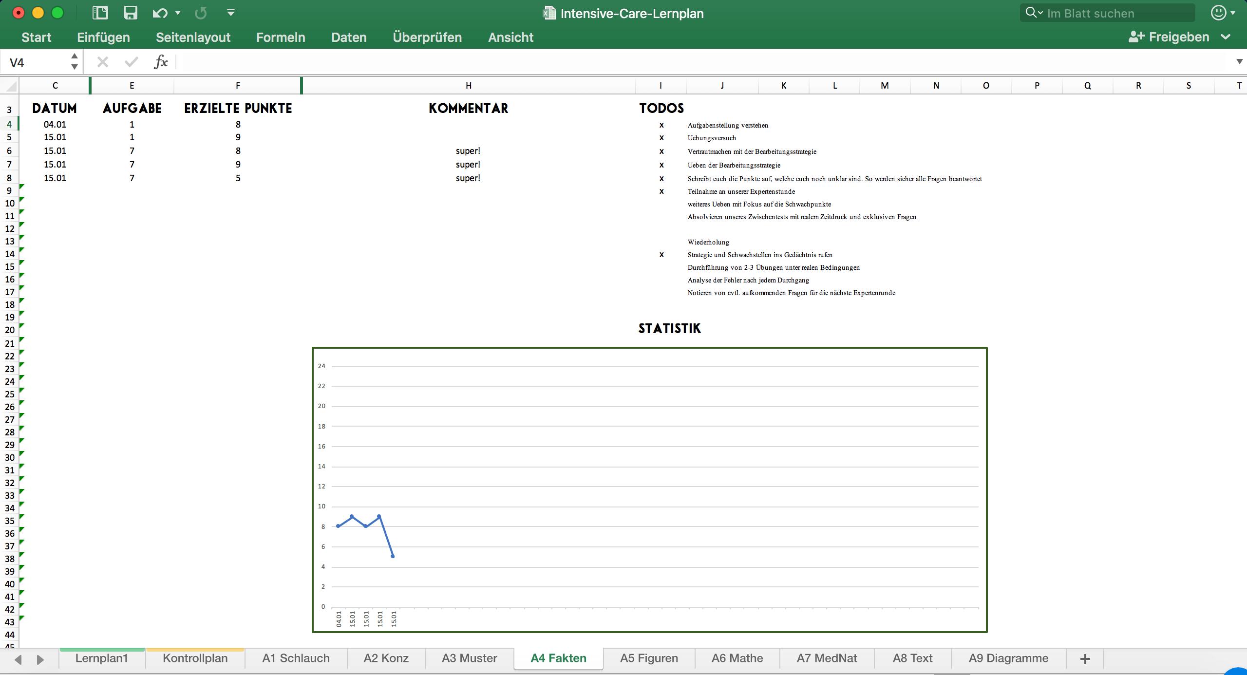TMS Lernplan mit Statistikfunktion